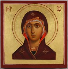 Beautiful hand-painted miniature icon of Theotokos (Virgin Mary) - This is a premium quality mini icon made with pure 23kt gold leaf. Painted using traditional technique - egg tempera, solid lime wood panel, varnish, 23 karat gold leaf. About our icons BlessedMart offers hand-painted religious icons that follow the Russian, Greek, Byzantine and Roman Catholic traditions. We