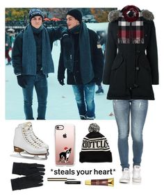 """""""Ice skating with the twins!"""" by be-robinson ❤ liked on Polyvore featuring Dolan, Moncler, Burberry, Uniqlo, Casetify, Black Radiance and Clarins"""