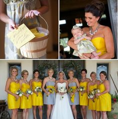 LOVE this yellow wedding, and love that the maids of honor are grey
