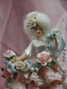 Springtime Marie Antoinette Altered Art Dresden Lace Figurine with Garlands of Vintage Roses on Etsy, Sold