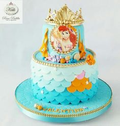 Sirenita cake Little Mermaid Birthday Cake, Little Mermaid Cakes, Birthday Cake Girls, Sirenita Cake, Bithday Cake, Sour Cream And Onion, Cake Art, Cake Pops, Fondant