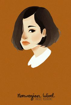 ノルウェイの森 Midori Kobayashi fan art illustration from Norwegian Wood, a book by Haruki Murakami Norwegian Wood, Design Art, Graphic Design, Haruki Murakami, Illustrations Posters, Illustrators, Illustration Art, People Illustration, Character Design