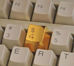 Golden Keyboard Button - A golden replacement for the dollar sign on your computer keyboard – one of the most commonly used symbols in our materialist society. Custom made for your keyboard, development and production will take some time.