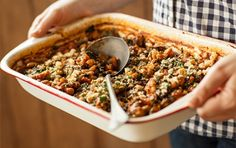 Italian Baked Beans and Greens from Whole Foods Market | Not traditional baked beans, just a bean dish that's baked.