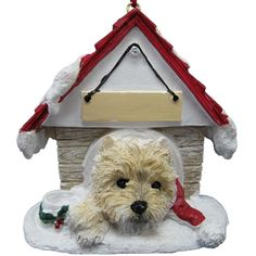 Cairn Terrier Doghouse Ornament (Set of 2)