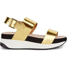 KG KURT GEIGER Neutron gold leather sandals ($150) ❤ liked on Polyvore featuring shoes, sandals, gold, leather shoes, kg kurt geiger shoes, gold shoes, leather sandals and real leather shoes