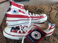 838c4e57dcb Vintage Converse All-star Red White  amp  Blue Flag Sneakers Men s Sz 7 NOS