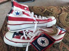 6a5e731e091 Vintage Converse All-star Red White  amp  Blue Flag Sneakers Men s Sz 7 NOS