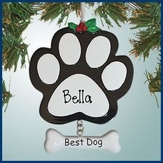 Personalizedfree.com Personalized Christmas Ornaments - Dog Paw Print with Bone - Black