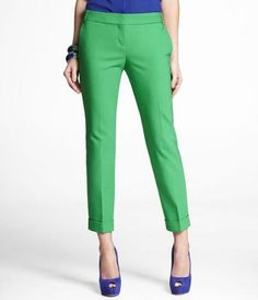 Green pants are more versatile than you may think. For a safer office look, pair with black or grey, or go bold and pair with blue or orange.