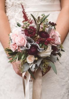 garden roses, spray roses, antique roses, ranunculus, astillbe, brunia, scabiosa, stock, eucalyptus, light pink, burgundy, grey, ivory, gold bridal bouquet #5ElevenPalafox #JessiFieldPhotography #DowntownPensacola #DowntownPensacolaWedding #PensacolaWedding
