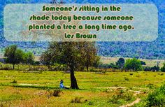 Someone's sitting in the shade today because someone planted a tree a long time ago. -- Les Brown