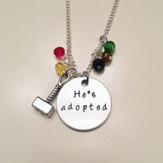 Thor and Loki He's Adopted Marvel Chris Hemsworth Hand Stamped Charm Necklace #thor #loki #brothers #hesadopted #mjolnir #avengers #marvel #comicinspired #stamped #charmnecklace