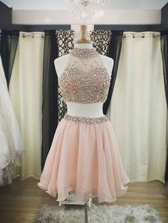 TWO PIECE PROM DRESSES,PEARL PINK A-LINE HIGH NECK SHORT MINI CHIFFON HOMECOMING DRESS SHORT PROM DRESSES