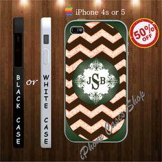 Chevron Monogram iphone 4s case and iphone 5 case - iPhone 4 Case, iPhone 4s Case, iPhone 5 Case chevron Monogram