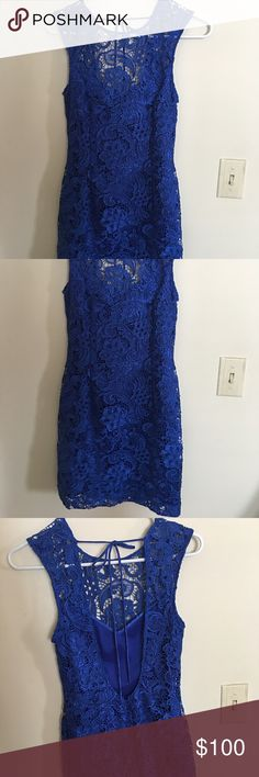 Lipsy Midnight Blue Lace Dress NWT Lipsy Midnight Blue Backless Lace Dress - size 6 US ( 10UK), please refer to pictures. No trades. Lipsy Dresses Backless
