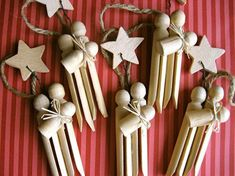 Use 3 dolly pegs to create this lovely bundle of joy ..spray or paint gold silver enjoy x
