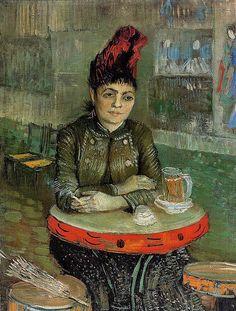 """Woman at a table in the Cafe du Tambourin"" in Feb-Mar 1887 by Van Gogh. The subject is Agostina Segatori, owned the café that Van Gogh visited, previously an artist's model. Vincent Van Gogh, Van Gogh Art, Art Van, Paul Gauguin, Renoir, Claude Monet, Henri De Toulouse-lautrec, Van Gogh Pinturas, Google Art Project"