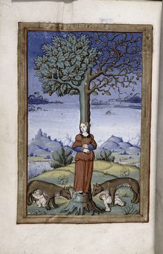 Final miniature of an allegory of a woman as part of the tree trunk, whose branches sprout acorns and berries, while two wolves, each with a child, stand at the foot of the tree. (1525-1550)