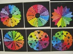 Creative color wheel radials, painted first using only primaries and color mixing, then folded and cut.