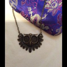 Owl Necklace Owl Necklace. Bronze measures 10 & 1/2 inch long. NWT Accessories