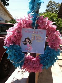 What a surprise to see my party pinned by @Catch My Party  Wreath at a Mermaid Party #mermaid #partywreath