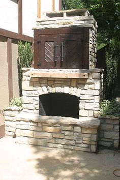 River Rock Outdoor Fireplace Wood Burning Fireplace Rustic
