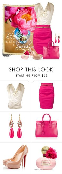 """Luke 1:45"" by stephiebees ❤ liked on Polyvore featuring Haute Hippie, Calvin Klein Jeans, Yves Saint Laurent, Christian Louboutin and Coach"