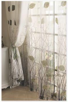 Elleweideco Modern Green Leaf Tree Branch Window Curtain/drape/panel (Green Sheer, 52Wx95L)