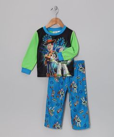 Take a look at this Disney Blue & Green Toy Story Pajama Set - Infant by Disney on #zulily today!