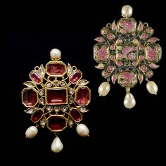 A Spinel and Pearl Pendant. Benares. 18th Century. A very fine spinel drop pendant with foiled spinel set in the kundan style and mounted with four Basra pearls. The reverse with magnificent pink enamelling.