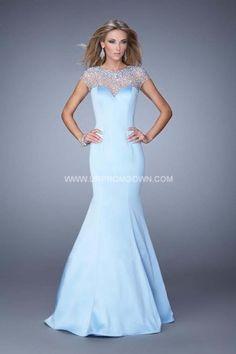 2015 La Femme 21345 Pearls Satin Mermaid Prom Dress Powder Blue