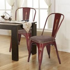 Tolix Style PU Cushion Top Metal Dining Chairs (Set Of 2)   Brown