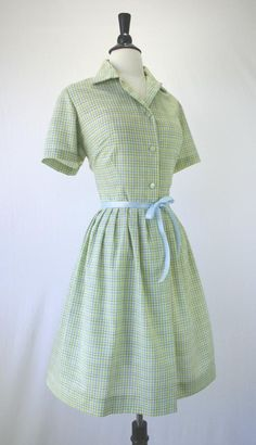 Vintage 50s Dress Shirtwaist Full Skirt Rockabilly Day Green Multi Plaid Button Front Size L XL 1950s Dresses. $65.00, via Etsy.
