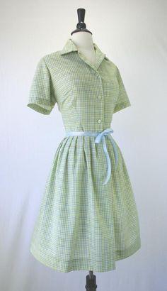 Vintage 50s Dress Shirtwaist Full Skirt Rockabilly Day Green Multi Plaid Button Front Size L XL 1950s Dresses. $65.00, via Etsy.