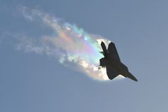A U.S. Air Force F-22 Raptor banks left causing vapor contrails during an aerial demonstration at the Australian International Airshow and Aerospace and Defense Exposition (AVALON) March 3, 2017, in Geelong, Australia. The F-22 is assigned to the 90th Fighter Squadron at Joint Base Elmendorf-Richardson, Alaska, and is part of the F-22 Demonstration Team from Joint Base Langley Eustis, Va. AVALON 2017 was an ideal forum to showcase U.S. defense aircraft and equipment. (U.S. Air Force…