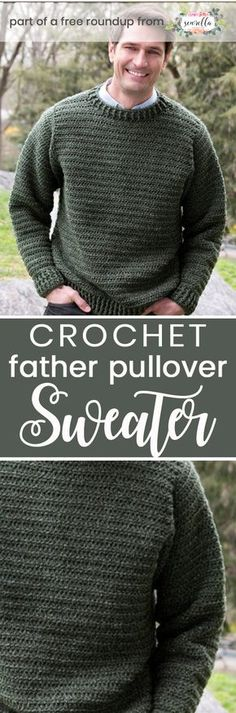 Get the free crochet pattern for this Crochet Father Pullover Sweater from Red Heart featured in my husband-approved crochet sweaters for men FREE pattern roundup!