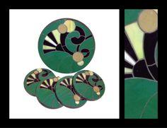 Art Nouveau - Stained Glass Mosaic Coaster & Trivet - by Smash Glassworks