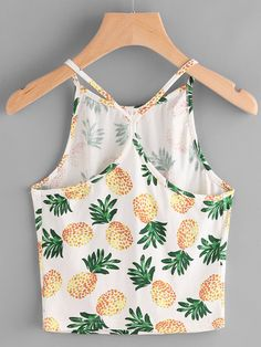 White Pineapple Print Racer Back Cami Crop Top Crop Top Outfits, Cute Casual Outfits, New Outfits, Cami Crop Top, Cami Tops, Girls Fashion Clothes, Fashion Outfits, Pineapple Clothes, Summer Crop Tops