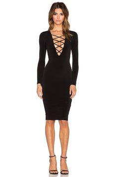 Nookie Ti Amo Lace Up Midi Dress in Black