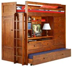 Bunk Bed All In 1 Loft With Trundle Desk Chest Closet Paper Plans So Easy…