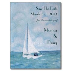 Lovers on a sailboat, Save The Date postcard  ♥  Repinned by Annie @ www.perfectpostage.com