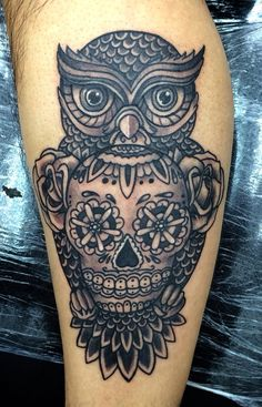 owl candy skull tattoo