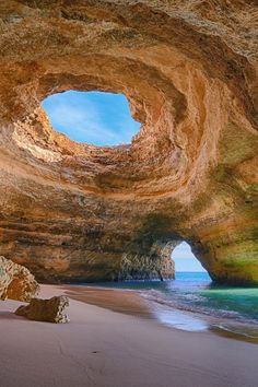 Cannot wait. Take me now <3 Benagil Caves, Algarve, Portugal. At first glance one can tell that the beaches near Benagil, Portugal are truly picturesque, yet naturally occurring sea caves transform the pristine beaches into something truly magical.  The openings and closings of the caves allow you to lounge on the beach directly in the sun, or in the shade while exploring intricate rock formations.