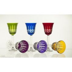 Wine glasses in six colors hand painted