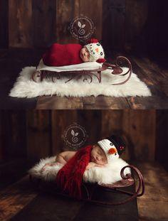 TFJ Designs — Dark Red Sled Sleigh - Christmas Holiday Prop - Newborn Toddler Child - NEW