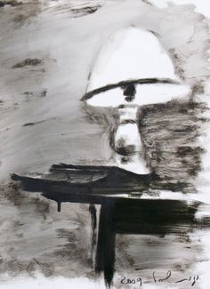 Hagit Shahal - My table 3, 2009 Industrial paint on Paper, 33/45 cm