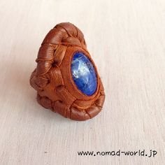 hippie,bohemian,gypsy, Deer Leather ring with Lapis Lazuli,Nomad World