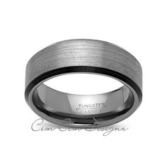 8mm,New,Unique,Flat,Gray Gun Metal Bushed,Black Tungsten Rings,Mens Wedding Band,Comfort Fit - LUXURY BANDS LA