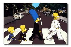 The Simpsons Family Beatles Walking Across Street Animated Cartoon